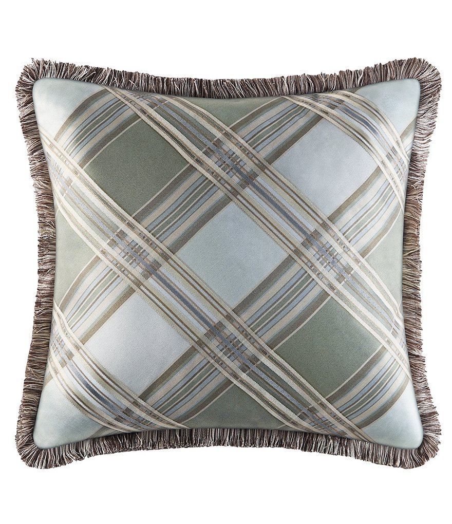 Piper & Wright Adeline Fringed Plaid Square Pillow