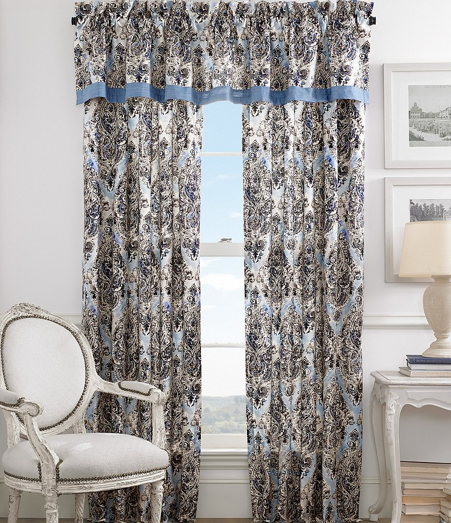 Piper & Wright Santorini Chambray-Trimmed Distressed Damask Window Treatments