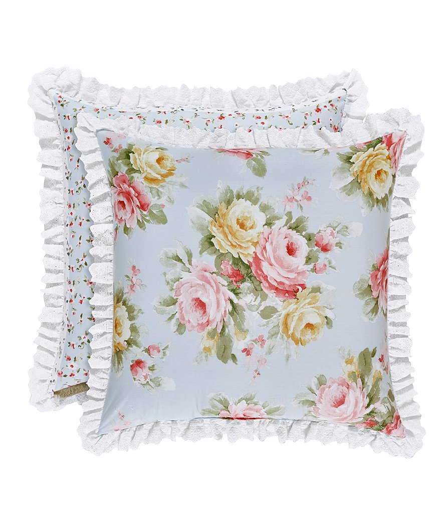 Piper & Wright Stella Ruffled Eyelet-Trimmed Floral Reversible Square Pillow
