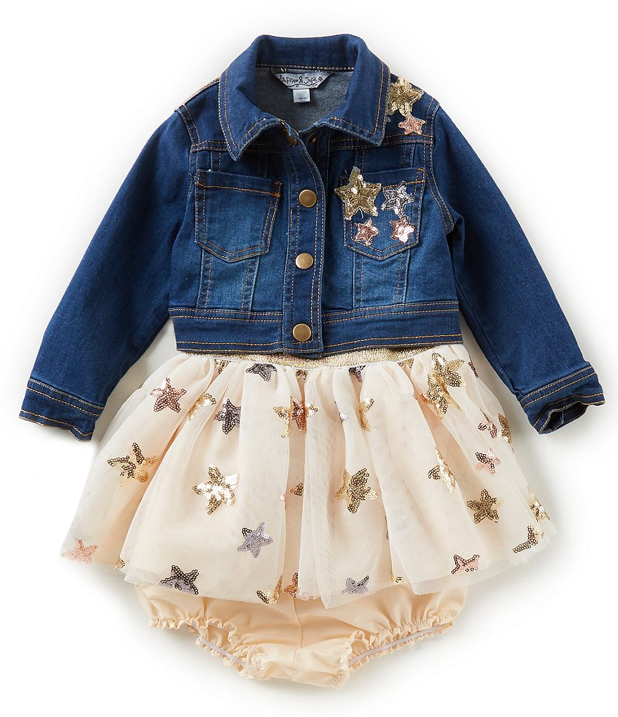 Pippa & Julie Baby Girls 12-24 Months Foiled Star Dress & Star Denim Jacket