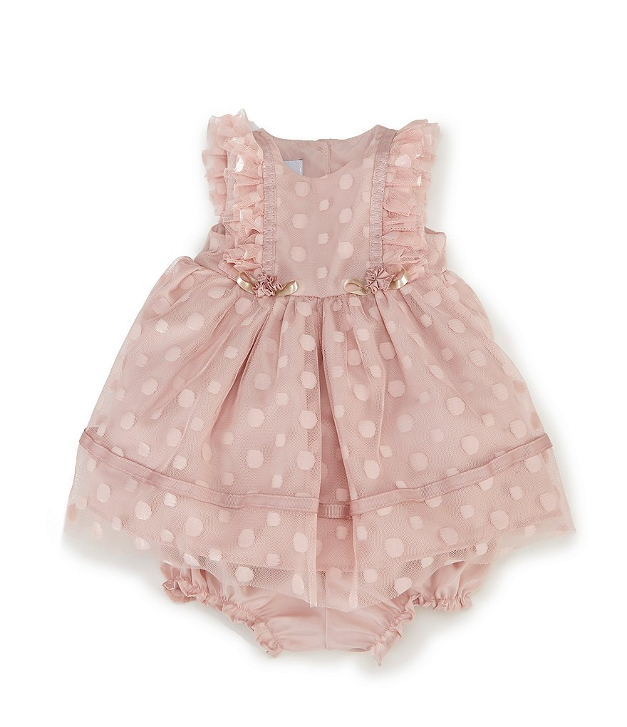Pippa & Julie Baby Girls Newborn-24 Months Dotted Flutter-Sleeve Dress