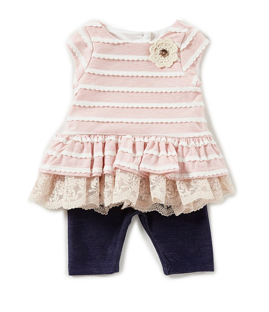 Pippa & Julie Baby Girls Newborn-24 Months Striped Lace-Hem Top & Leggings Set