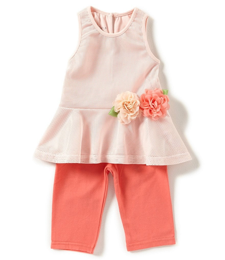 Pippa & Julie Little Girls 2T-6X Floral-Applique Mesh Tank Top & Solid Leggings Set