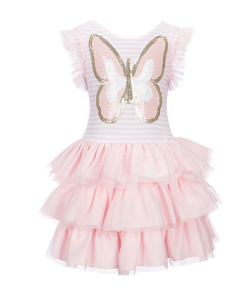 Pippa & Julie Little Girls 2T-6X Sequin Butterfly Tiered-Hem Dress
