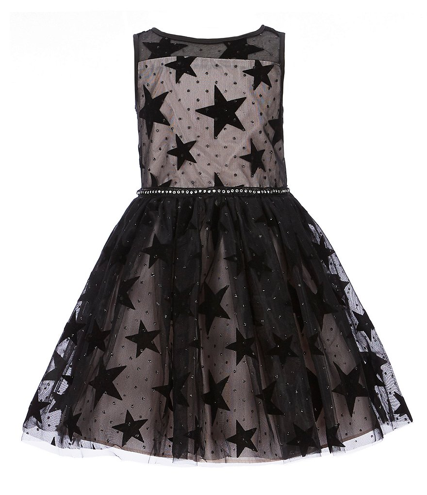 Pippa & Julie Little Girls 2T-6X Velvet Star-Printed Fit-And-Flare Dress