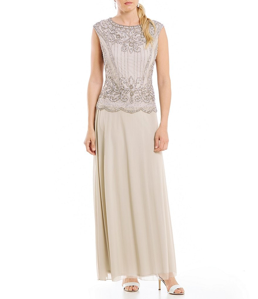 Pisarro Nights Beaded Bodice Mock Two Piece Gown