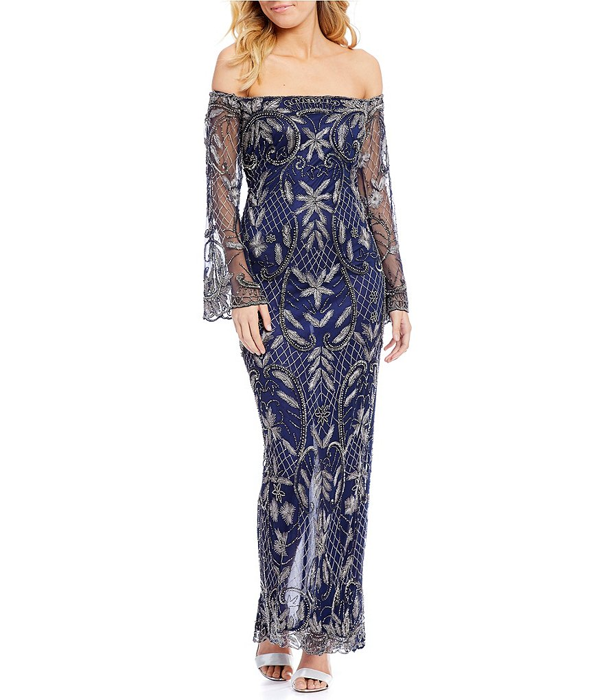 Pisarro Nights Off-the-Shoulder Embroidered Gown
