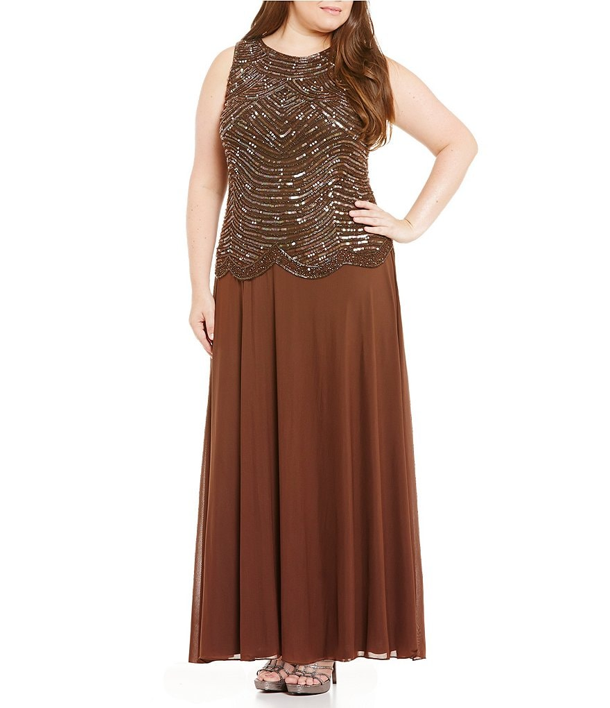Pisarro Nights Plus Beaded Mock 2-Piece Gown