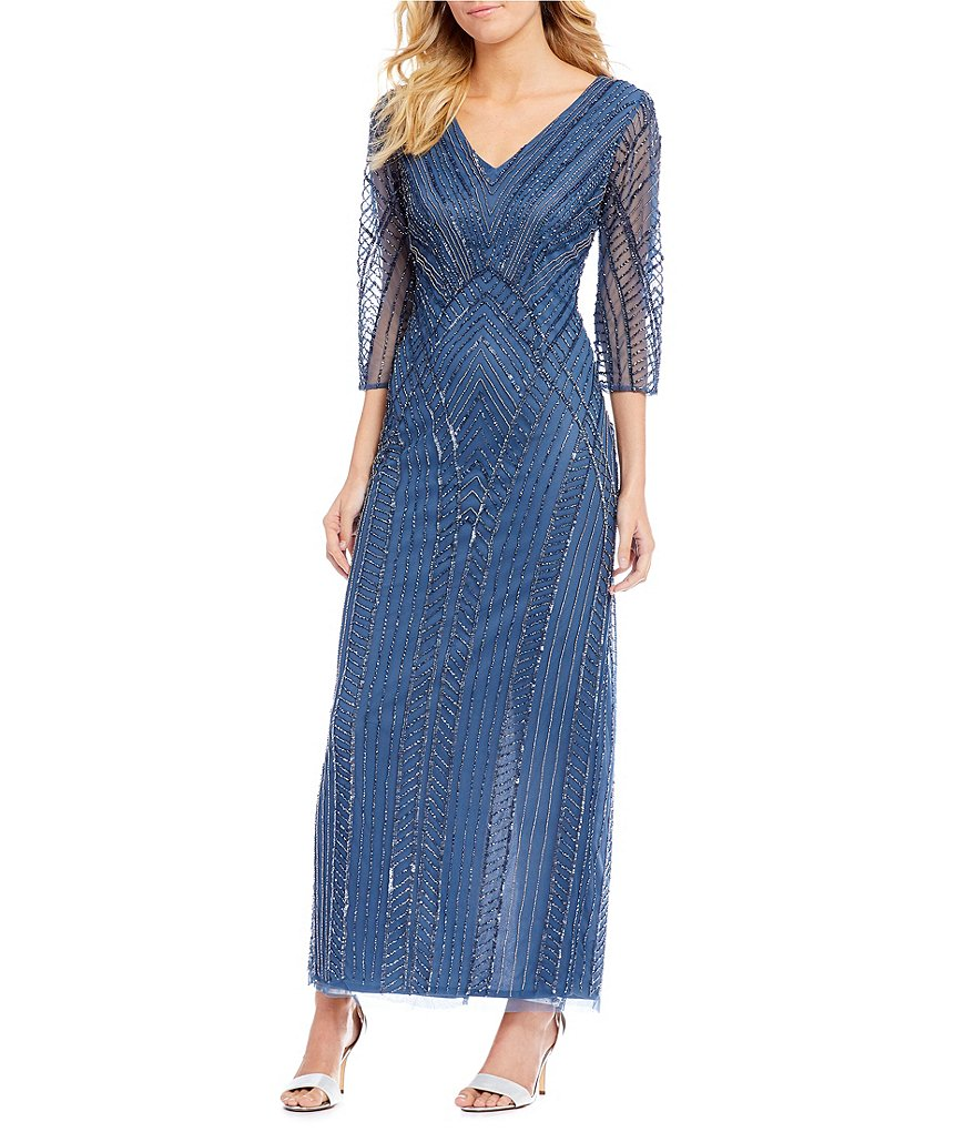 Pisarro Nights V Neck Beaded Gown