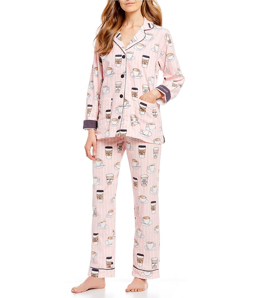 PJ Salvage Coffee Grind-Printed Flannel Pajamas