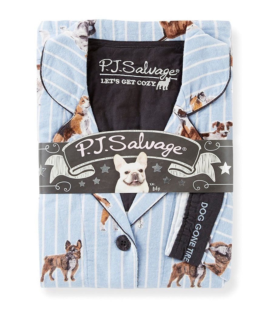 PJ Salvage Dog Gone Tired-Print Flannel Pajamas
