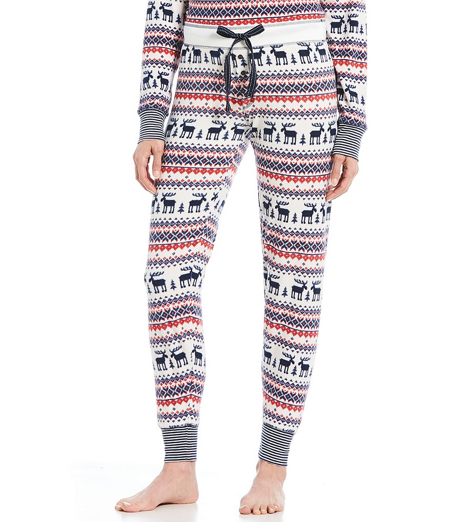 PJ Salvage Fair Isle & Moose-Printed Thermal Fleece Jogger Sleep Pants