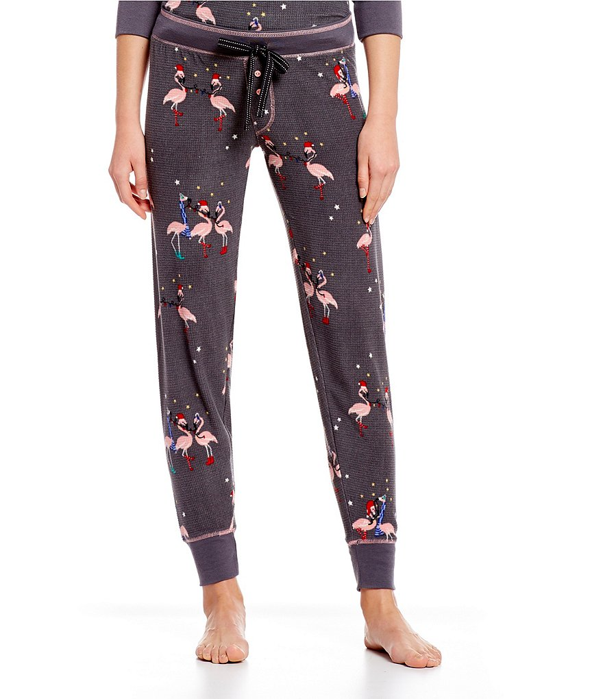PJ Salvage Flamingo-Print Thermal Fleece Jogger Sleep Pants