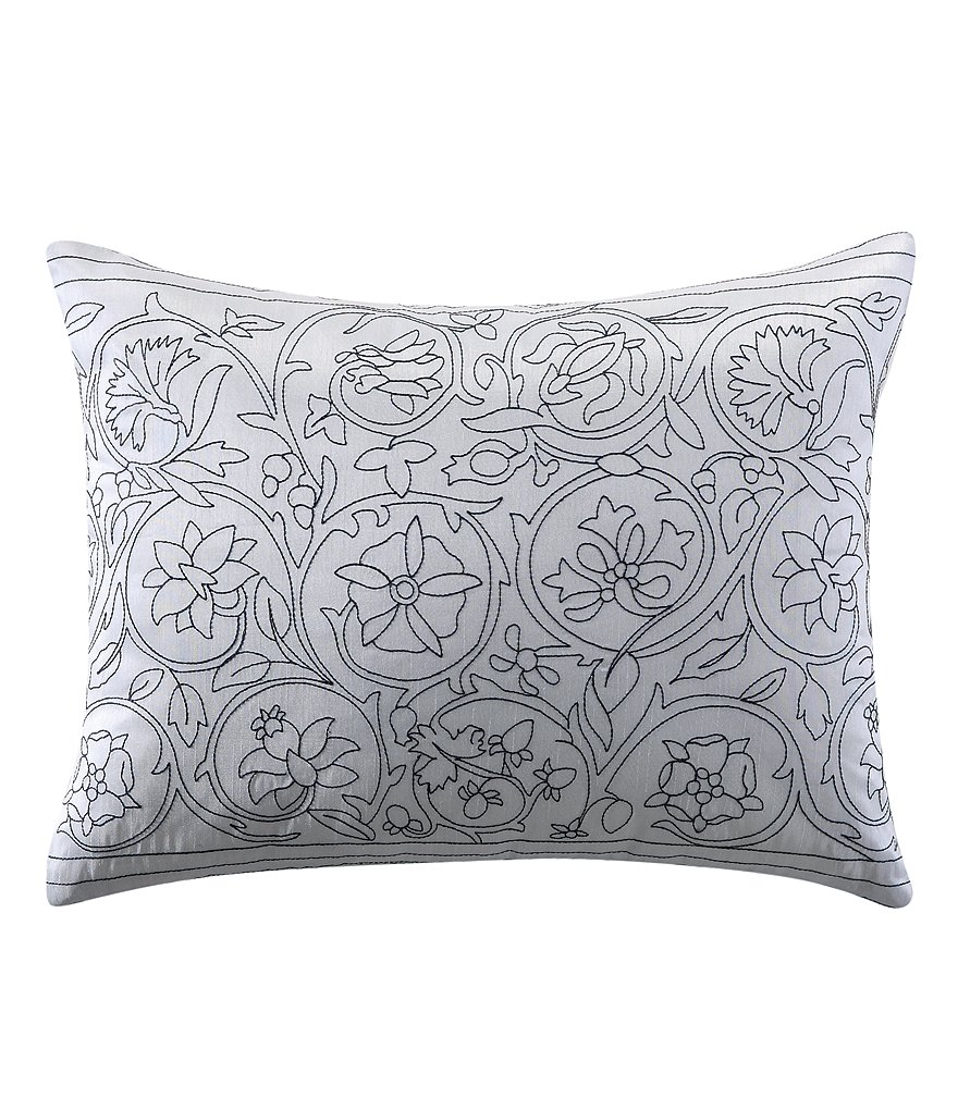 Poetic Wanderlust by Tracy Porter Griffin Floral Scroll-Embroidered Faux-Silk Oblong Feather Pillow