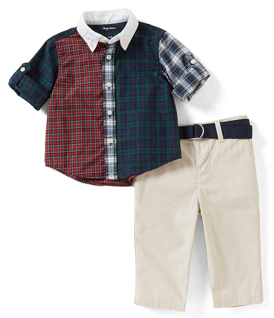 Ralph Lauren Childrenswear Baby Boys 3-24 Months Plaid Shirt & Solid Pant Set