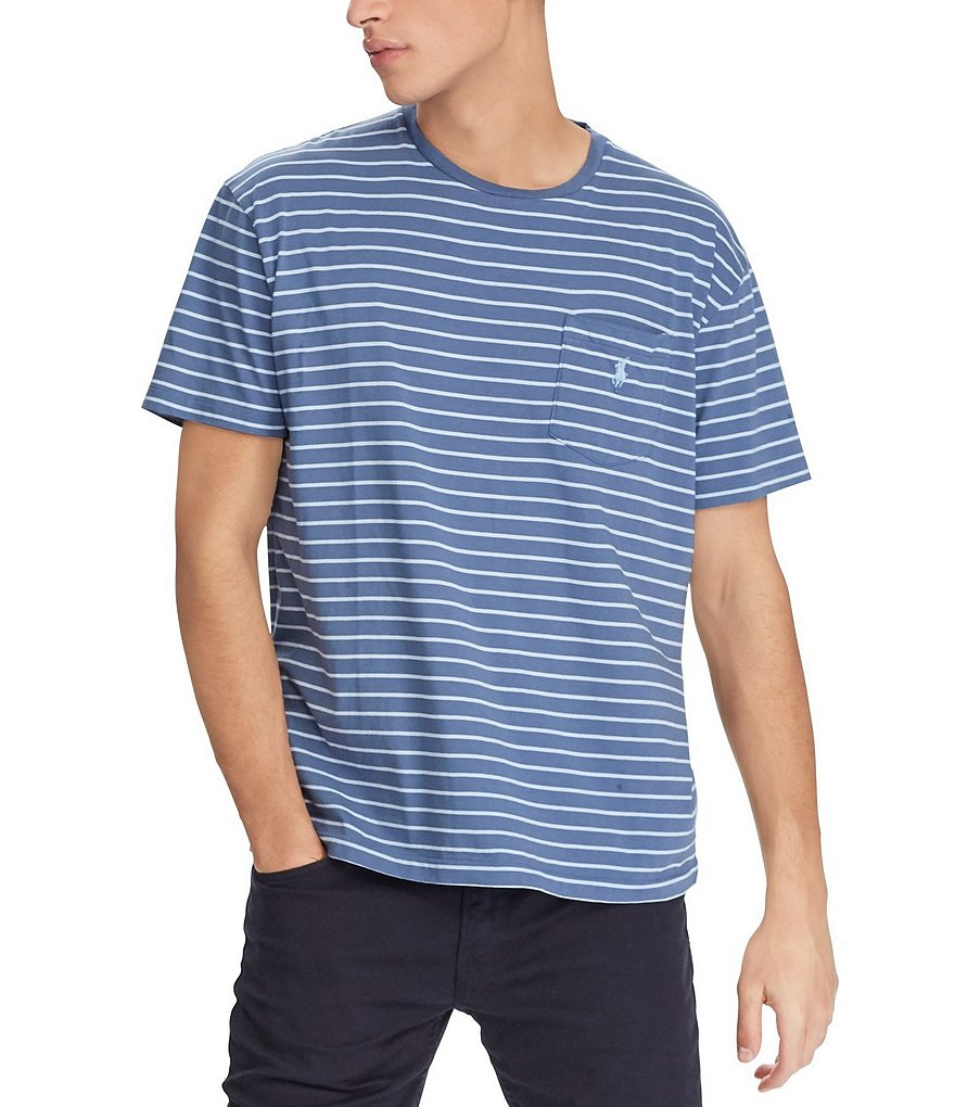 Polo Ralph Lauren Big & Tall Classic-Fit Stripe Jersey Pocket Crewneck Tee