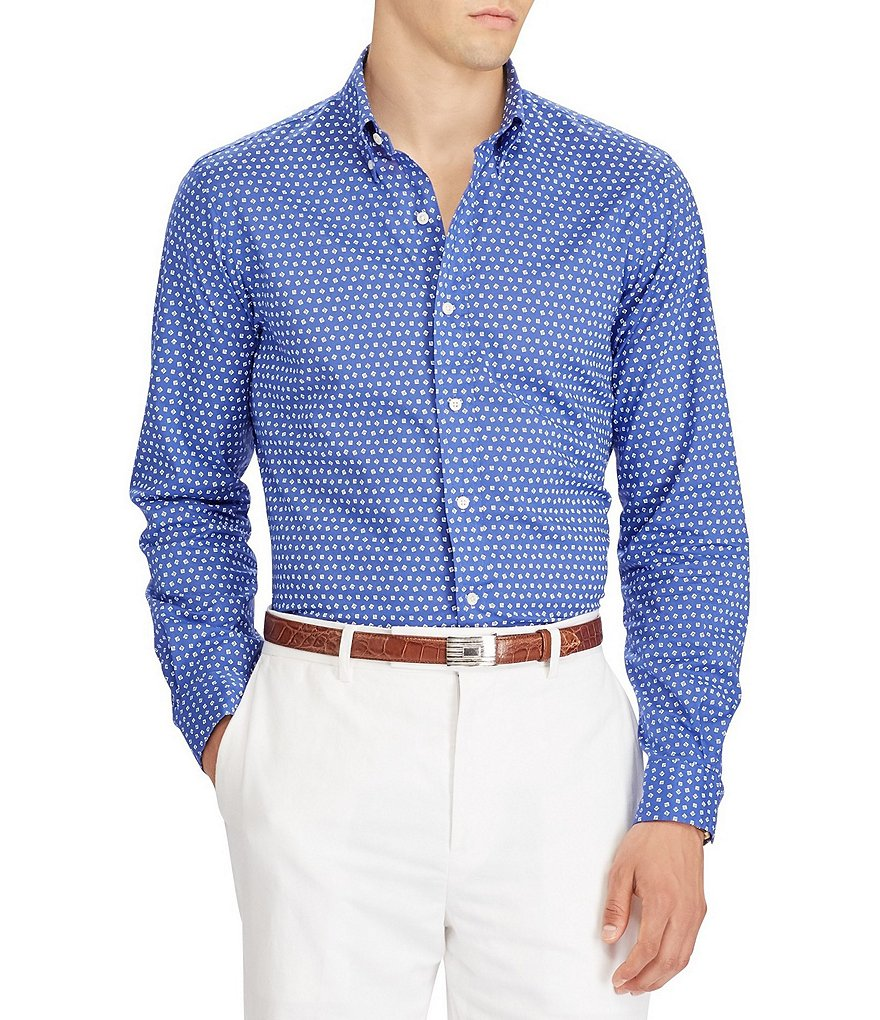 Polo Ralph Lauren Big & Tall Geo Print Poplin Long-Sleeve Woven Shirt