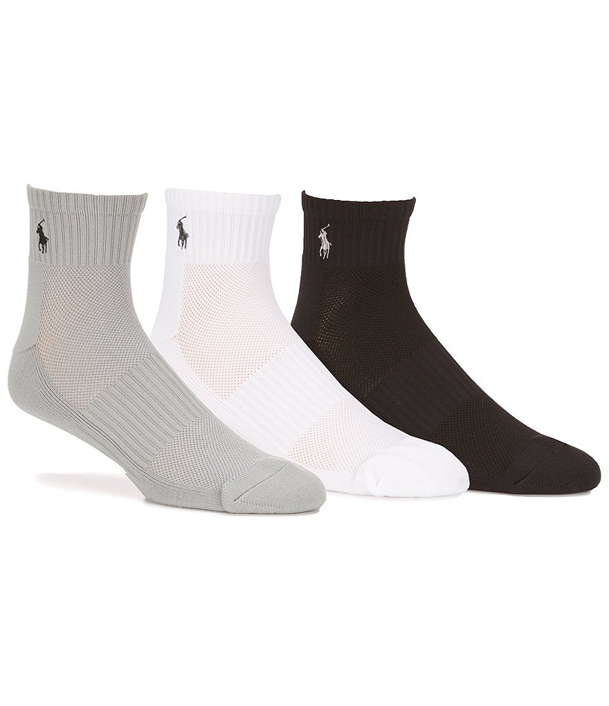 Polo Ralph Lauren Big & Tall Tech Athletic Quarter Socks 3-Pack