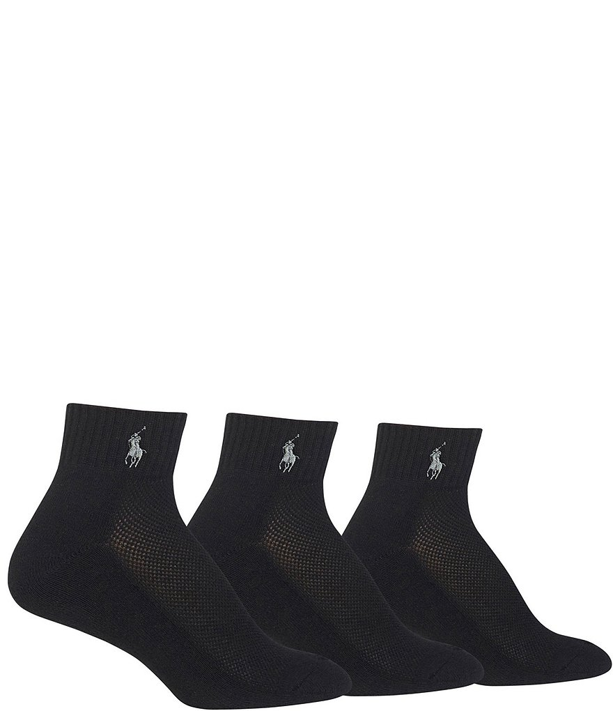 Polo Ralph Lauren Cushioned Mesh-Top Quarter Socks 3-Pack