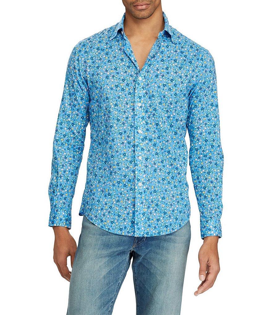 Polo ralph lauren floral print poplin long sleeve woven for Long sleeve poplin shirt