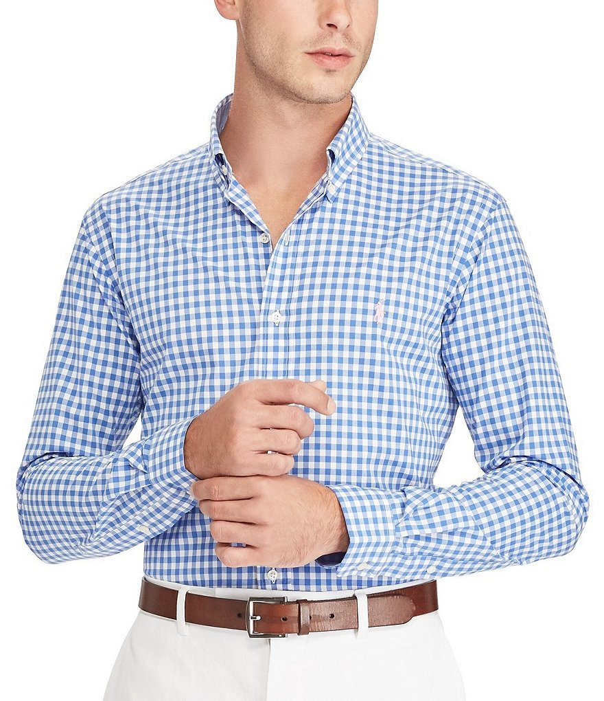 Polo Ralph Lauren Gingham Poplin Stretch Slim-Fit Long-Sleeve Woven Shirt