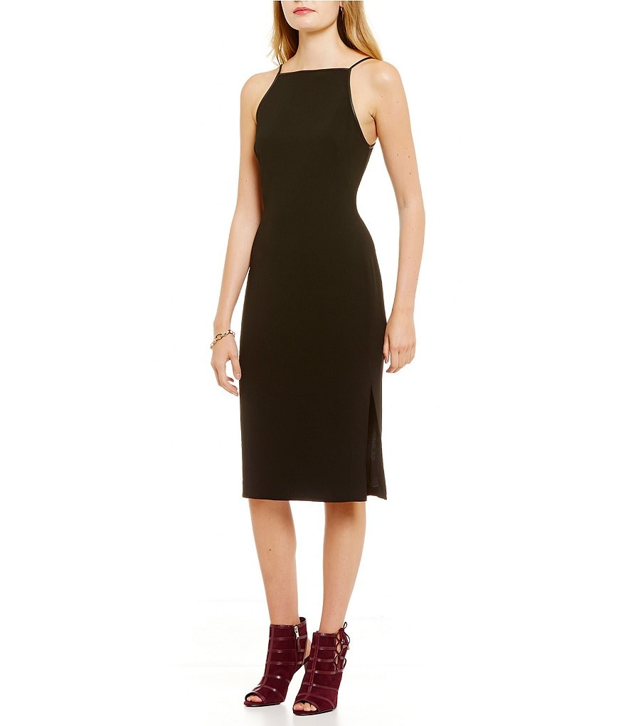 Polo Ralph Lauren  Leather-Trimmed Sheath Dress