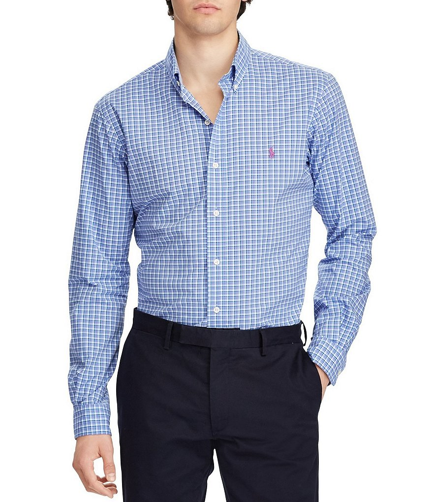 Polo Ralph Lauren Tattersall Plaid Poplin Long-Sleeve Woven Shirt