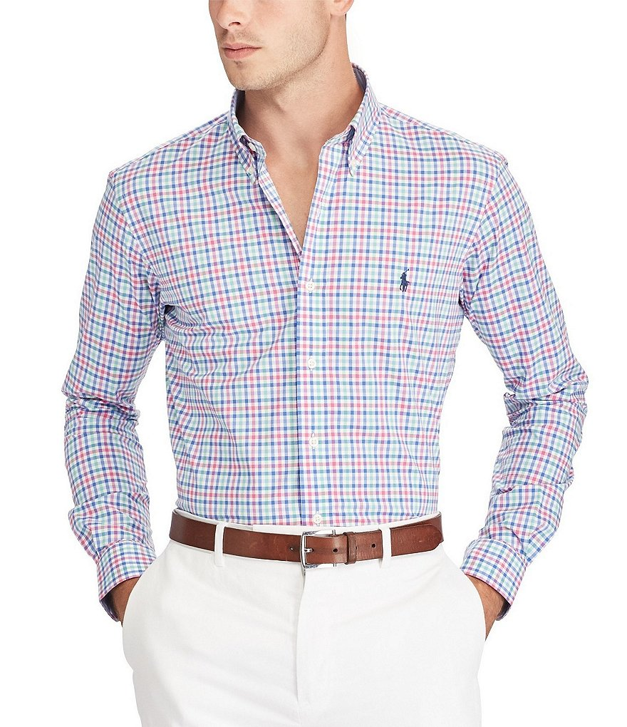 Polo Ralph Lauren Gingham Plaid Poplin Long-Sleeve Woven Shirt