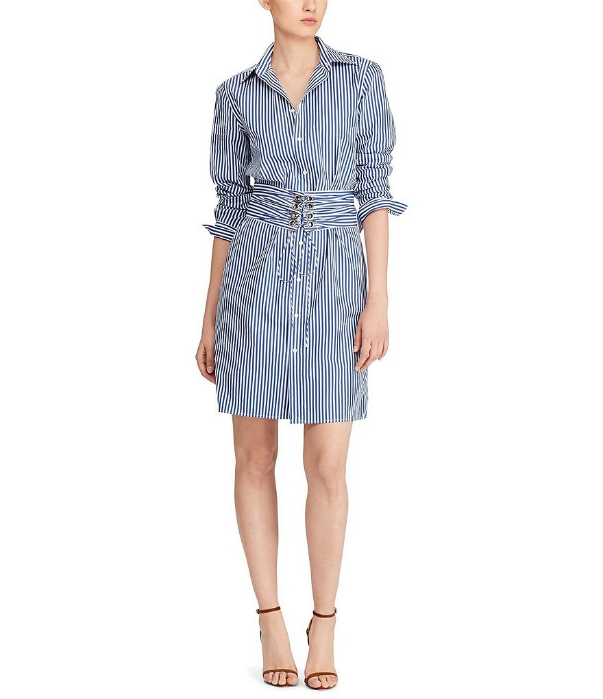 Polo Ralph Lauren Poplin Novelty Shirting Corset Shirtdress