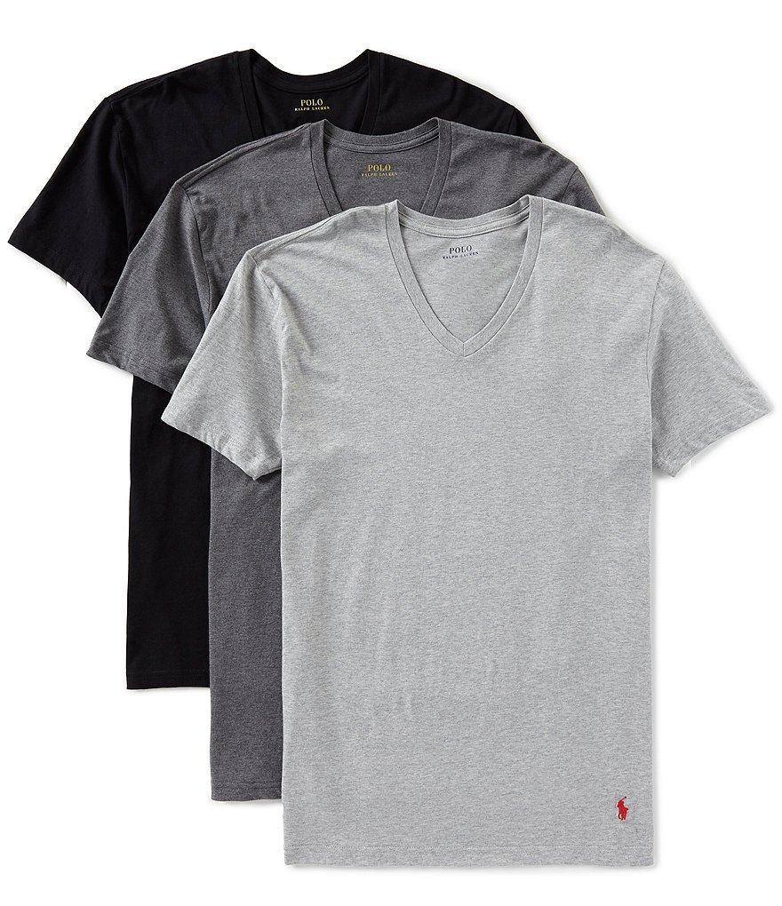 Assorted Polo Tees Ralph Lauren Pack V Slim Fit Neck 3 m0P8nywvNO