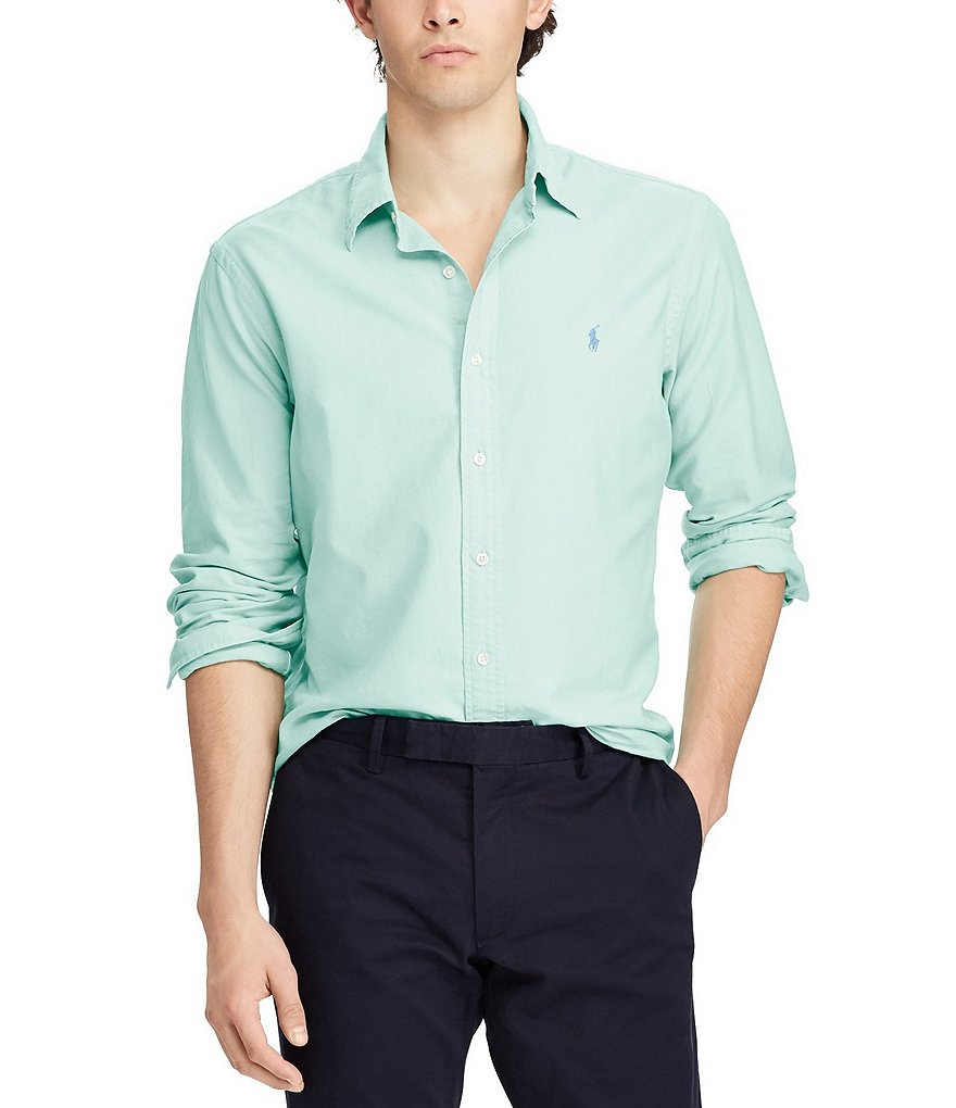 Polo Ralph Lauren Slim-Fit Solid Garment-Dye Oxford Long-Sleeve Woven Shirt