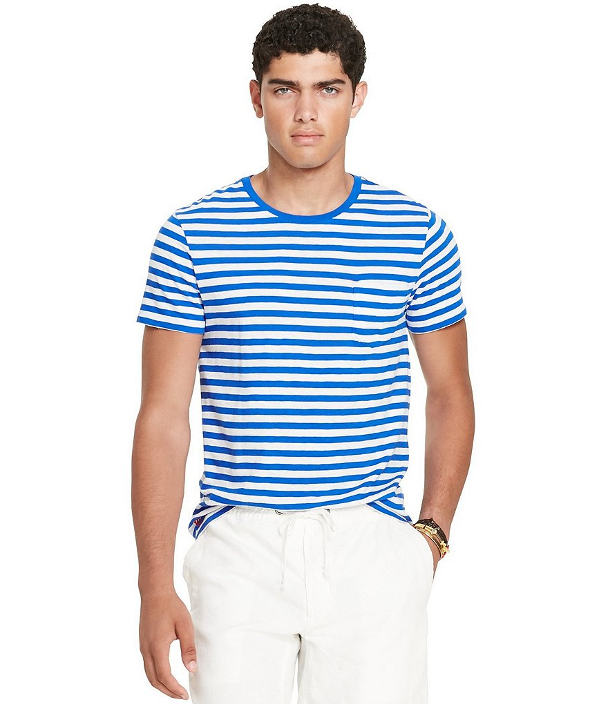 Polo Ralph Lauren Horizontal Striped Short-Sleeve Crewneck Pocket Tee