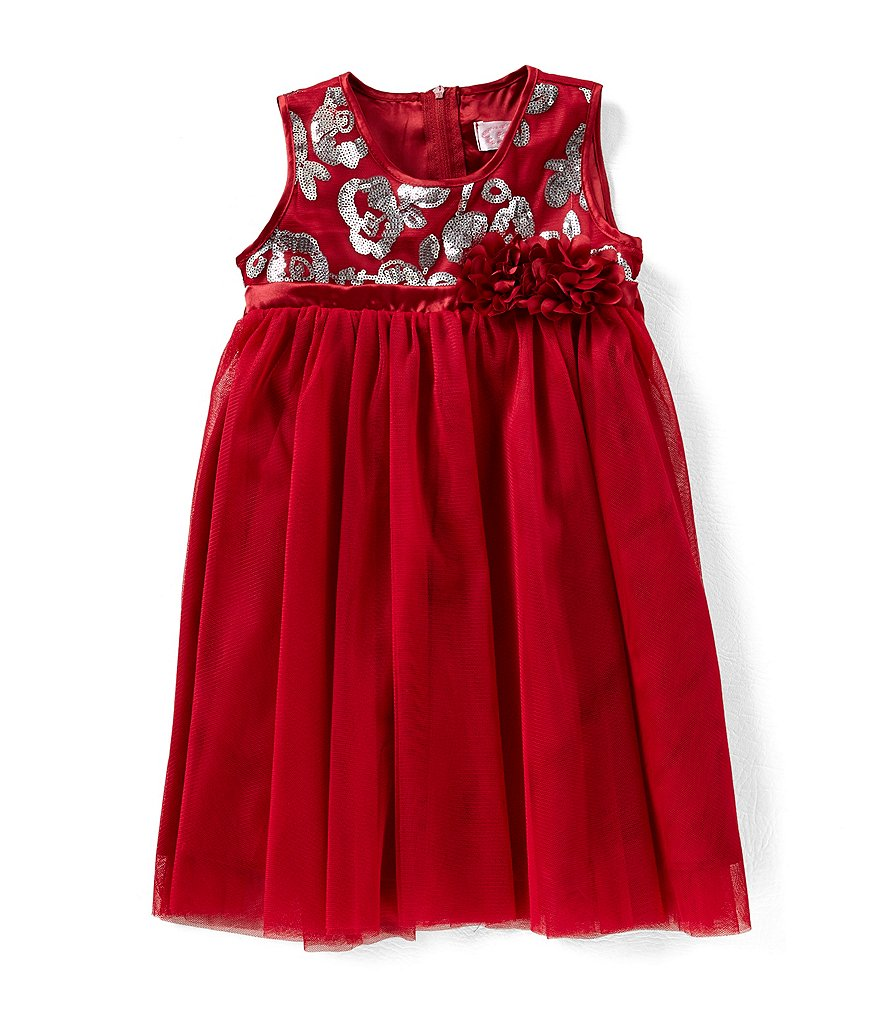 Popatu Little Girls 2-6 Empire-Waist Sequin Tulle Dress
