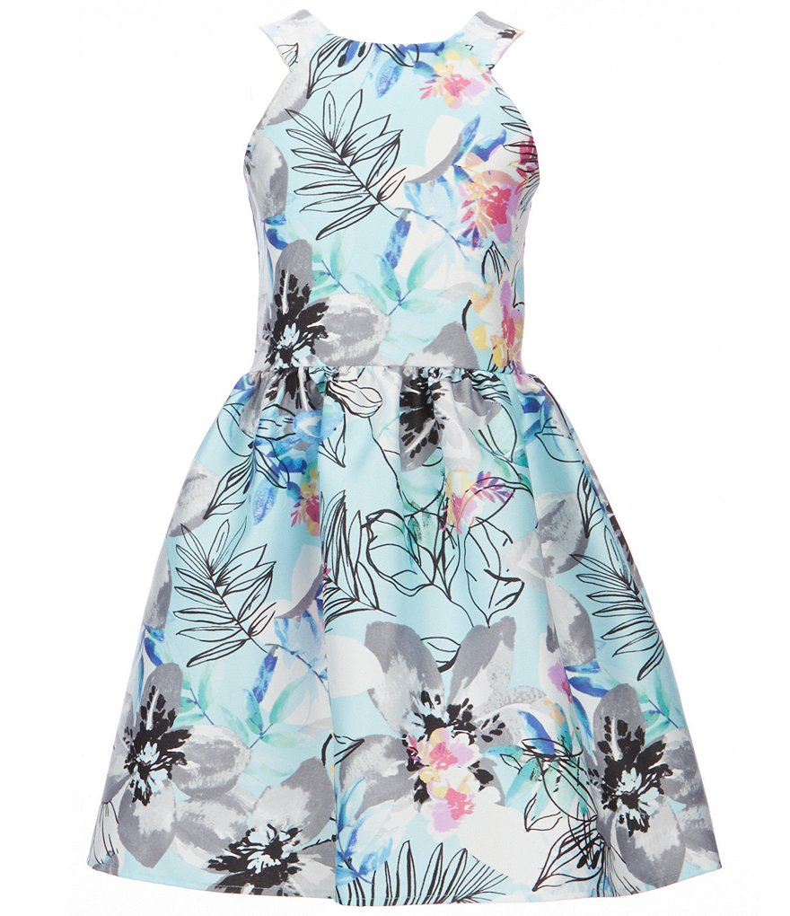 Poppies and Roses Big Girls 7-16 Halter Neck Floral Fit-and-Flare Dress