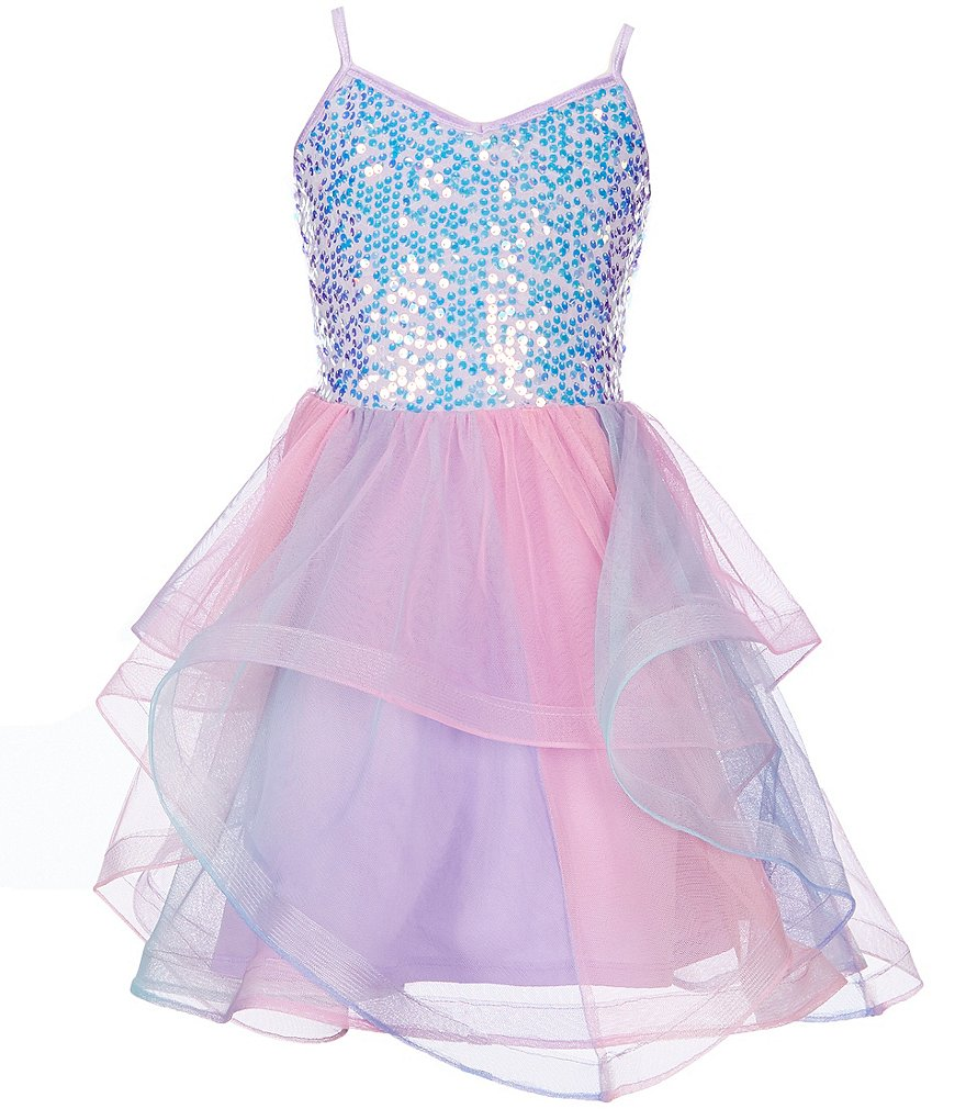 70cbfdac0 Poppies and Roses Big Girls 7-16 Sequin Bodice Ombre Skirt Fit-And-Flare  Dress