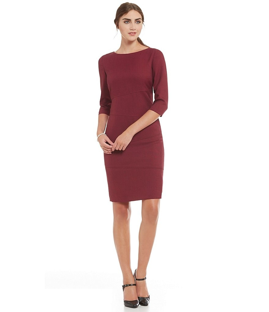Preston & York Clea Melange Suiting Asymmetrical Dress