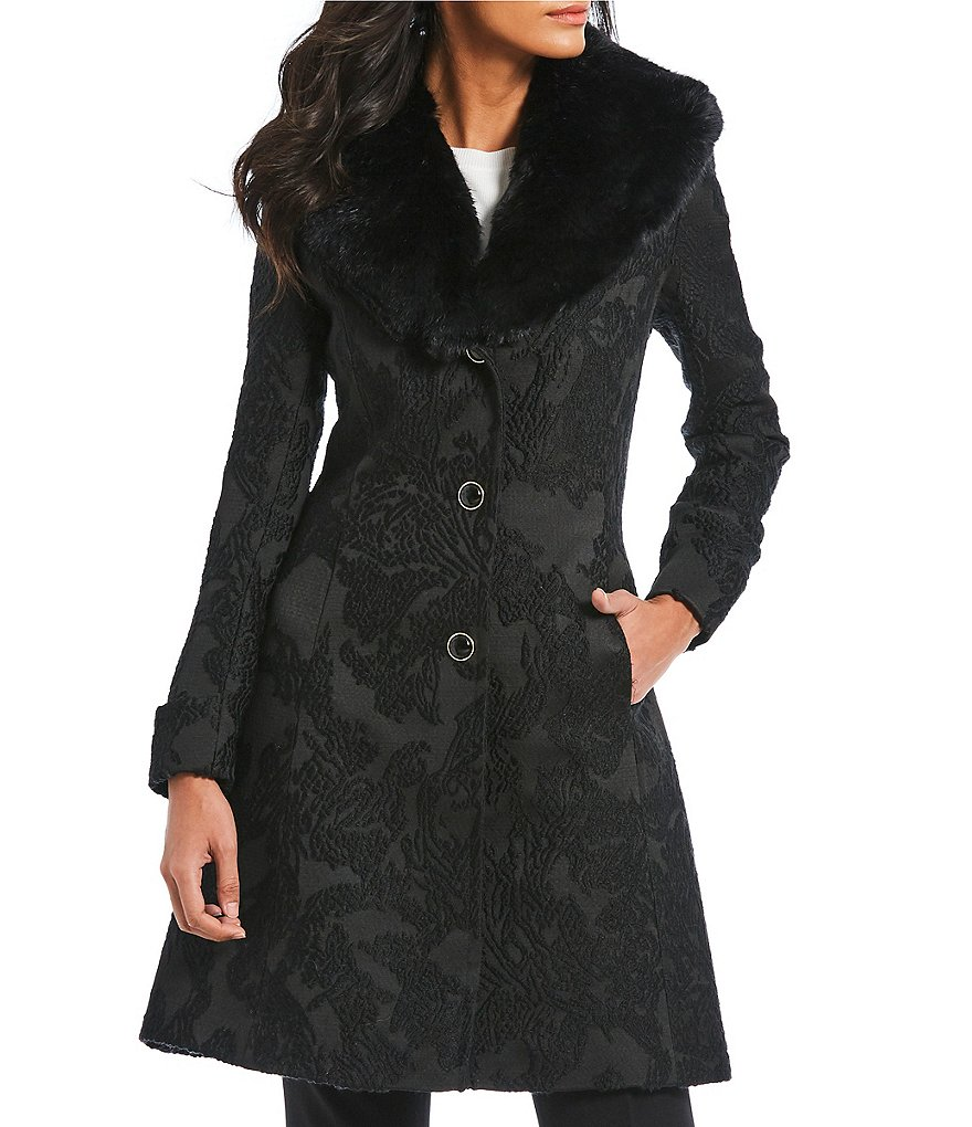 Preston & York Faux Fur Collar Collar Walker Coat