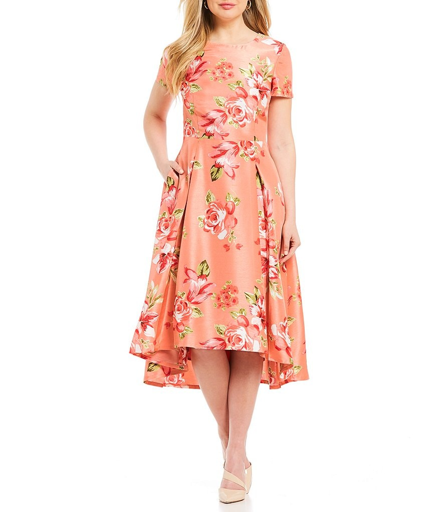 Preston & York Fiona Floral Print Hi-Lo Dress