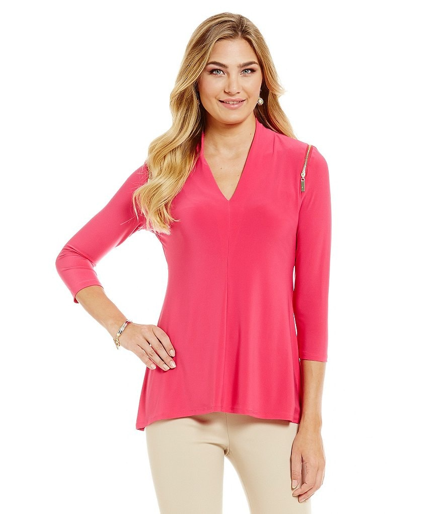 Preston & York Freya 3/4 Sleeve V-Neck Knit Top