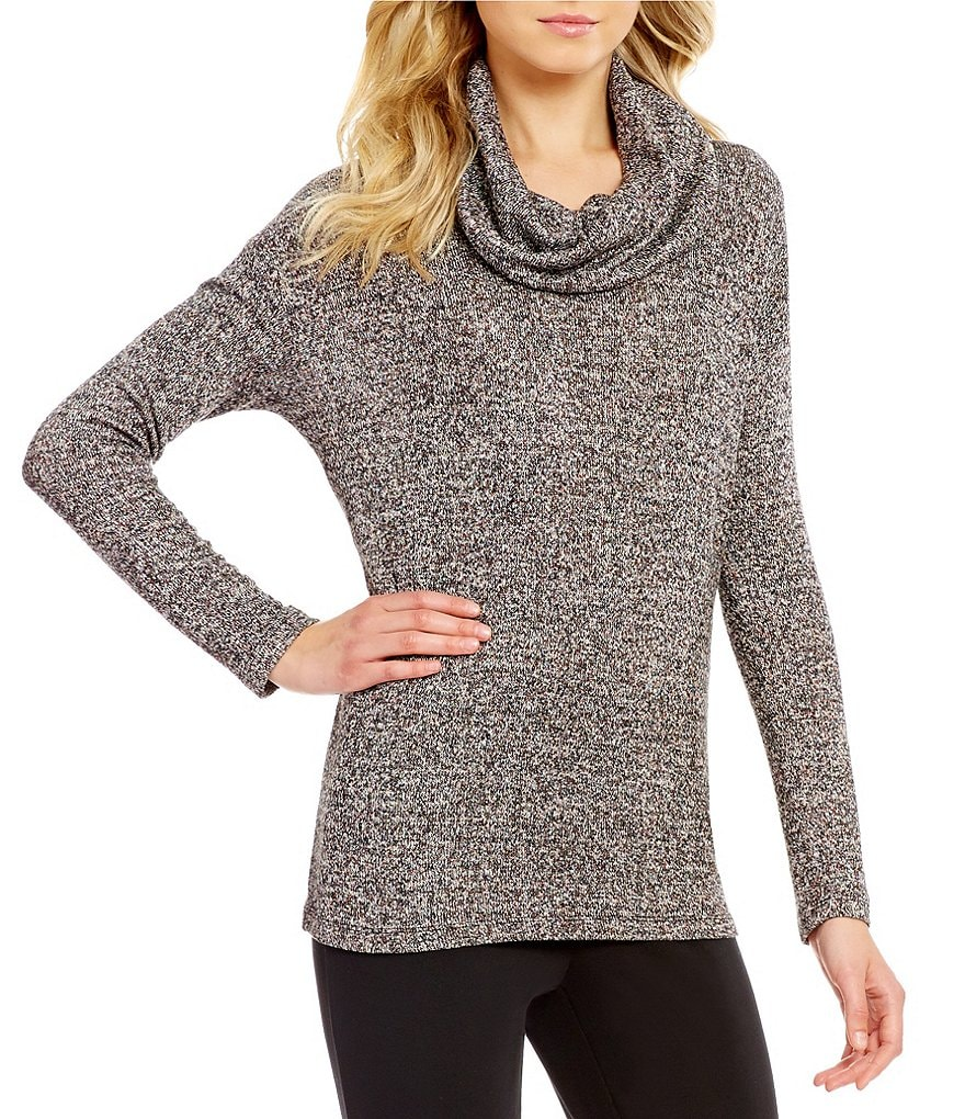 Preston & York Jasmine Cowl Neck Lurex Marled Knit Top