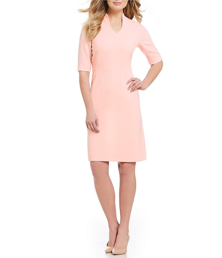 Preston & York Norma Textured Stretch Crepe Sheath Dress