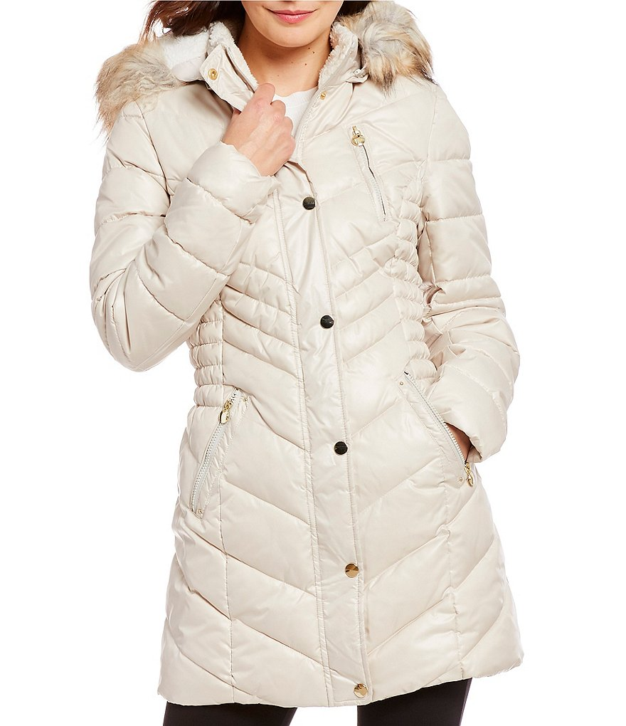 Preston & York Snap Front Puffer With Faux Fur Trim Hood
