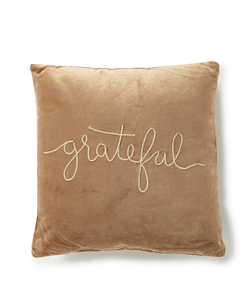 Primitives by Kathy Festive Fall Collection Grateful Velvet Square Pillow