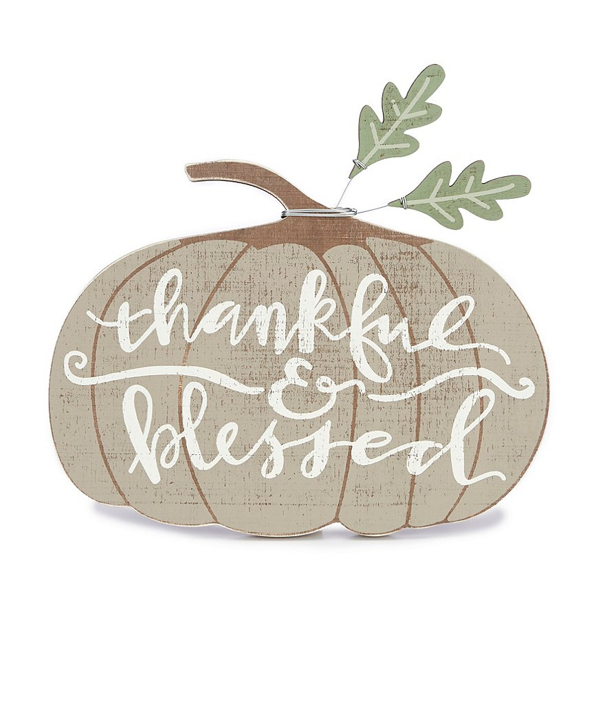 Primitives by Kathy Festive Fall Collection Thankful & Blessed Pumpkin Chunky Sitter Decor