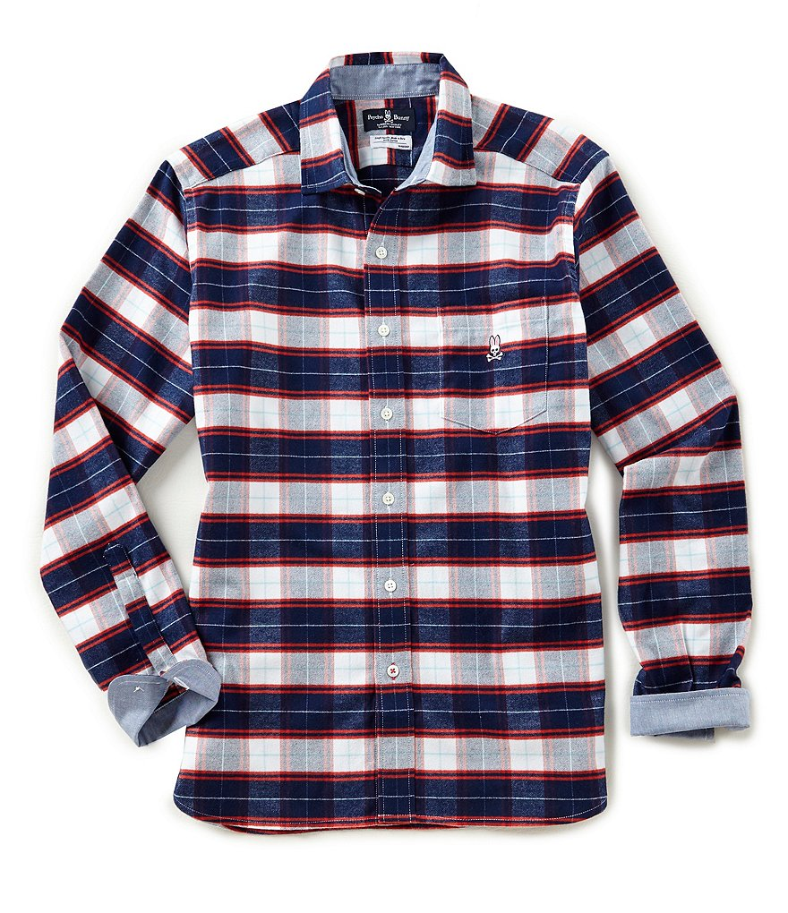 Psycho Bunny Tartan Plaid Brushed Flannel Long-Sleeve Woven Shirt