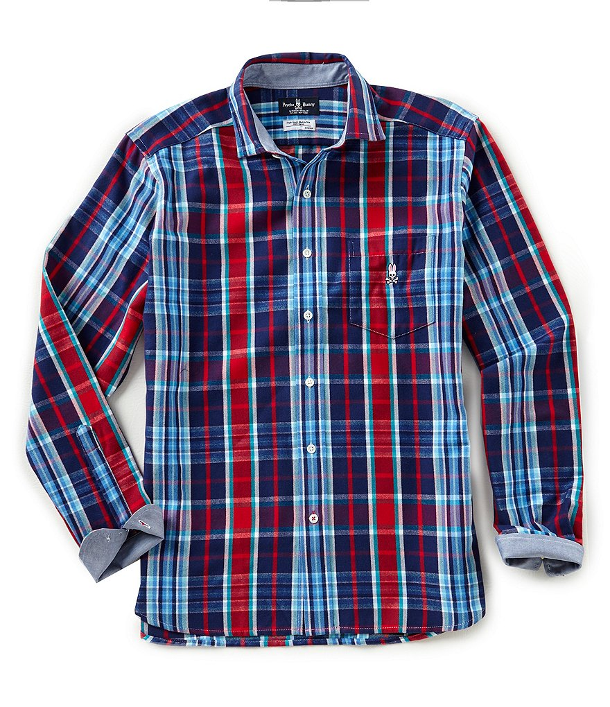 Psycho Bunny Madras Plaid Brushed Flannel Long-Sleeve Woven Shirt