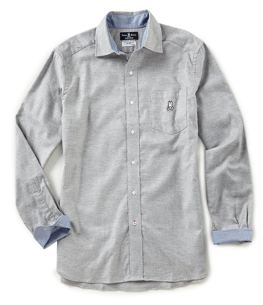 Psycho Bunny Solid Brushed Flannel Long-Sleeve Woven Shirt