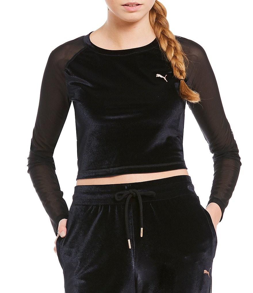 Puma Explosive Velvet Long Sleeve Crop Top