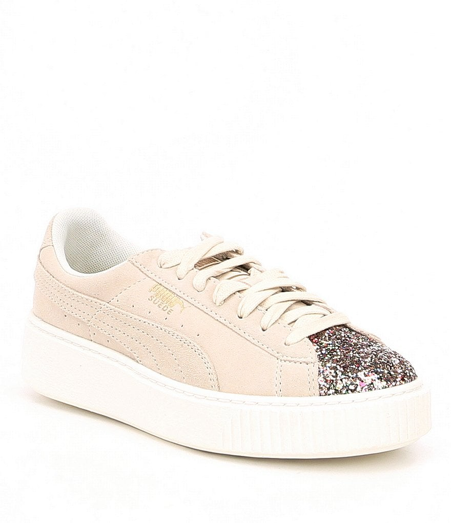 Puma Platform Crushed Gem Suede Embellishment Sneakers