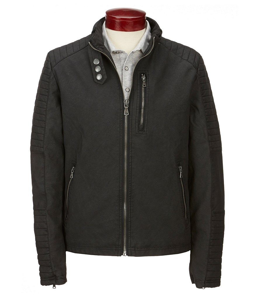 PX Clothing Faux Matte Leather Enzyme Washed Moto Jacket